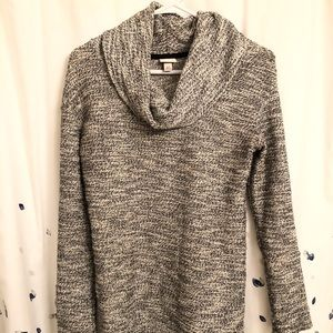 Black and white cowl neck sweater
